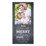 Tarjeta elegante marcada con tiza de la foto del d tarjetas fotográficas