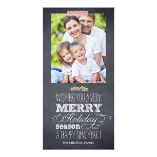 Tarjeta elegante marcada con tiza de la foto del tarjetas personales