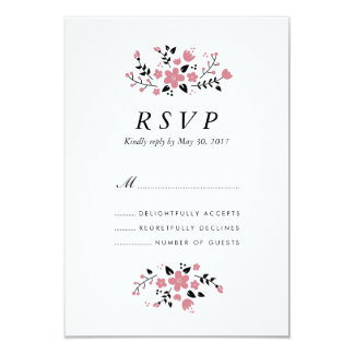 Tarjeta elegante moderna floral bonita de RSVP que Invitación 8,9 X 12,7 Cm