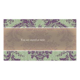 Tarjeta elegante púrpura del lugar del damasco de tarjeta de visita
