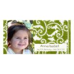 Tarjeta elegante verde de la foto tarjeta fotografica personalizada