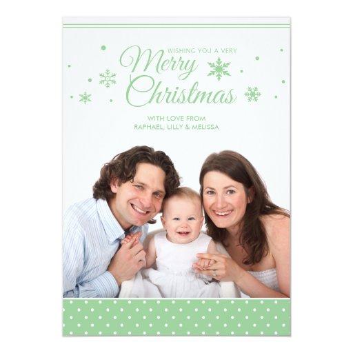 Tarjeta elegante verde y blanca de la foto de las invitación 12,7 x 17,8 cm