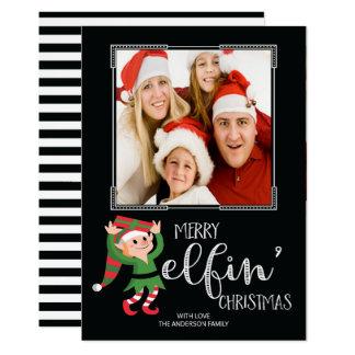 """Tarjeta Elfin de la foto de familia del navidad Invitación 5"""" X 7"""""""