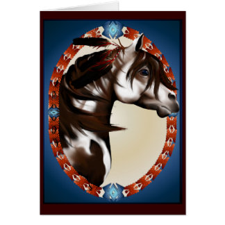 Tarjeta emplumada del caballo de la pintura