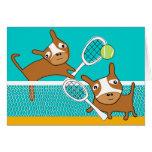 Tarjeta en blanco 2 del tenis del juego del perrit