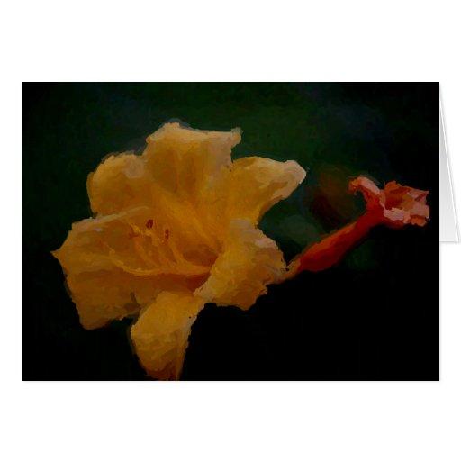 Tarjeta en blanco amarilla del lirio de día