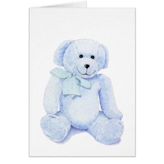 Tarjeta en blanco azul del oso de peluche