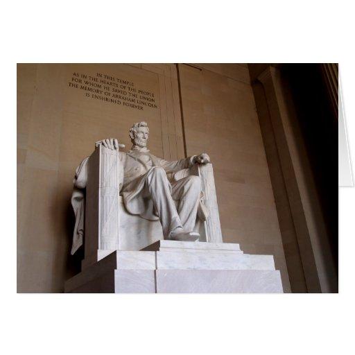 Tarjeta en blanco con el fondo de Abraham Lincoln