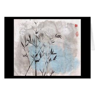 Tarjeta en blanco de bambú del claro de luna