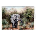 Tarjeta en blanco de ComingThrough del elefante