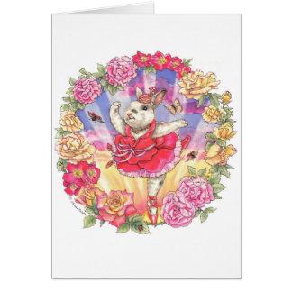 Tarjeta en blanco de la bailarina color de rosa