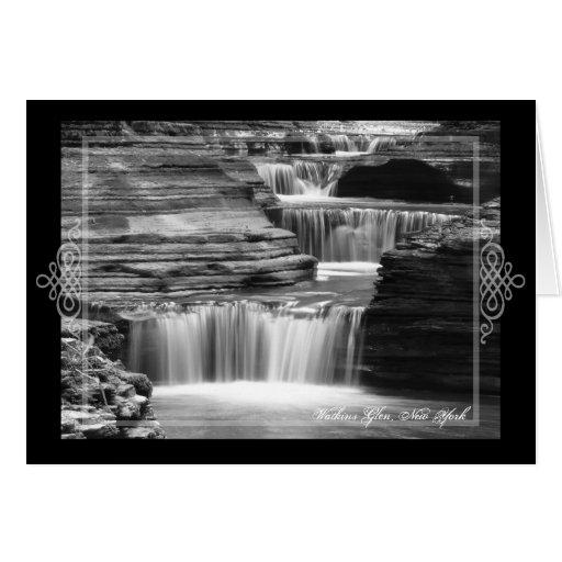 Tarjeta en blanco de la cascada de la cañada de Wa