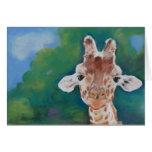 Tarjeta en blanco de la jirafa del bebé