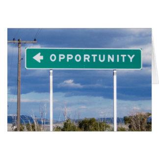 Tarjeta en blanco de la oportunidad