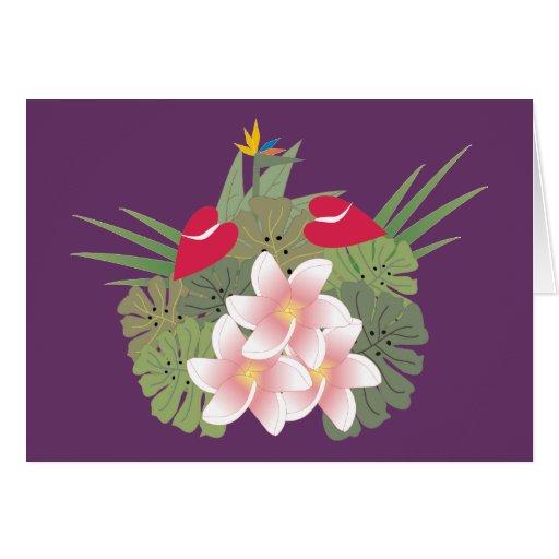 Tarjeta en blanco de las flores tropicales