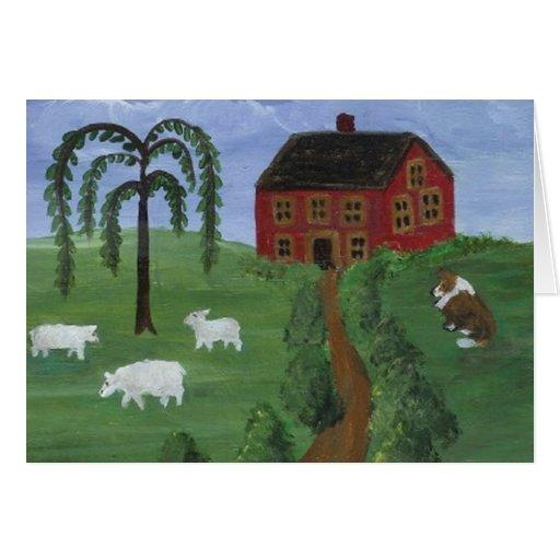 Tarjeta en blanco de las ovejas y del collie