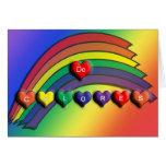 Tarjeta en blanco de los corazones de De Colores R