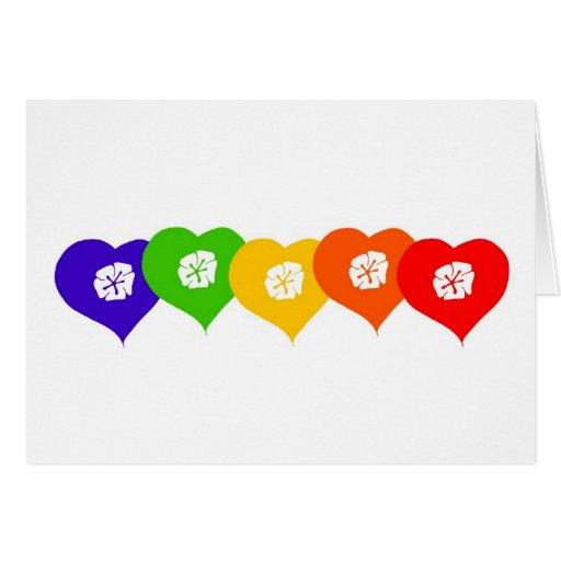 Tarjeta en blanco de los corazones del arco iris