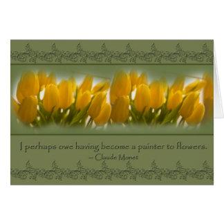 tarjeta en blanco de Monet de los tulipanes