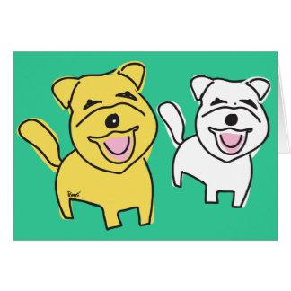 Tarjeta en blanco de risa de los perritos