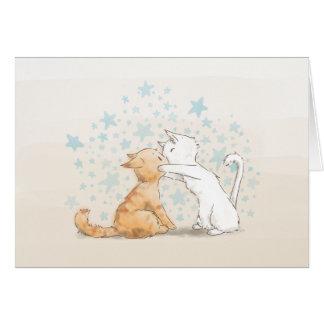 Tarjeta en blanco del amor de los gatitos que se b