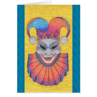 Tarjeta en blanco del bufón de la máscara de plata