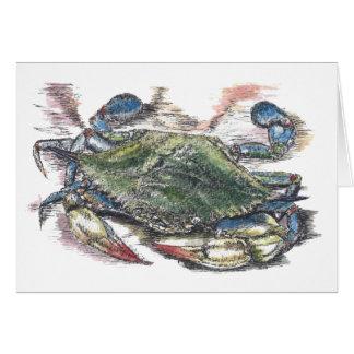 Tarjeta en blanco del cangrejo azul