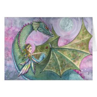 Tarjeta en blanco del dragón de hadas por Molly Ha