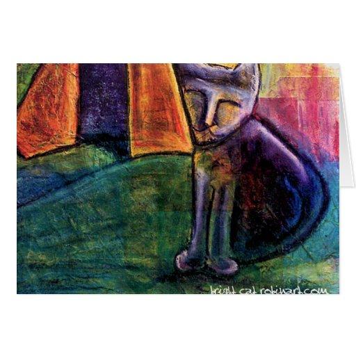 tarjeta en blanco del gato brillante (fije de 6)