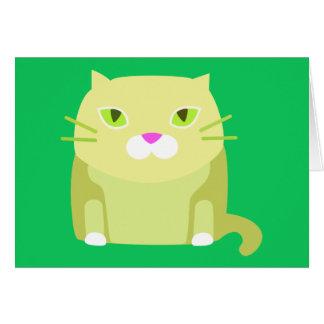 Tarjeta en blanco del gato lindo