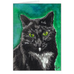 Tarjeta en blanco del gato negro del smoking