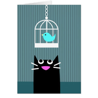 Tarjeta en blanco del gato negro y del pájaro azul