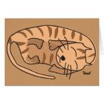 Tarjeta en blanco del gato soñoliento