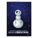 Tarjeta en blanco del muñeco de nieve triste de la