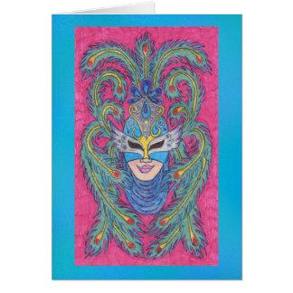 Tarjeta en blanco del pavo real de la máscara rosa