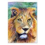 Tarjeta en blanco del retrato ACEO del león