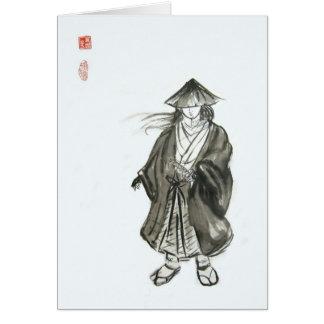 Tarjeta en blanco del samurai del lobo solitario