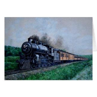 Tarjeta en blanco del tren del vapor