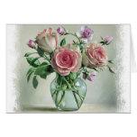 Tarjeta en blanco floral del vintage color de rosa