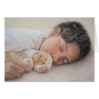 Tarjeta en blanco linda del arte del beagle y del