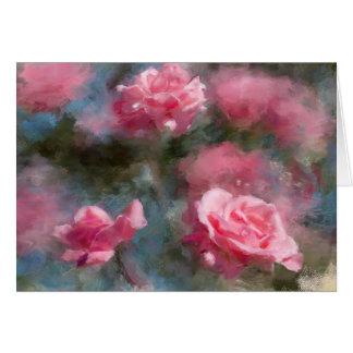Tarjeta en blanco pintada de los rosas rosados