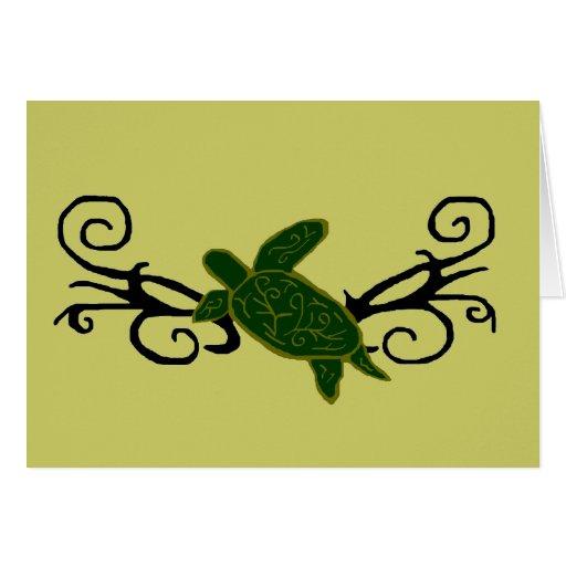Tarjeta en blanco tribal de la tortuga de mar del