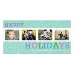 Tarjeta en colores pastel elegante de la foto de 4 tarjeta con foto personalizada