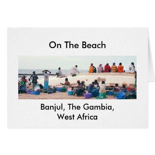 """Tarjeta, """"en la playa, Banjul, Gambia, Áfricas occ Tarjeta De Felicitación"""