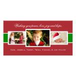 Tarjeta encantada de la foto del navidad del trío tarjeta fotográfica personalizada