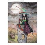 Tarjeta encantada del gato de la bruja de octubre