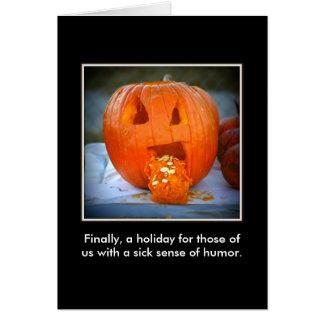 Tarjeta enferma de la fotografía de Halloween de