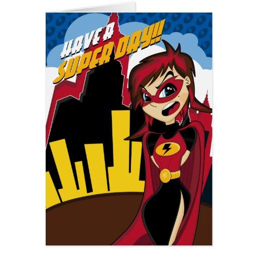Tarjeta enmascarada del chica del super héroe