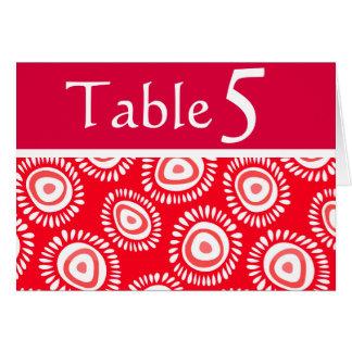 Tarjeta enrrollada roja preciosa del número de la