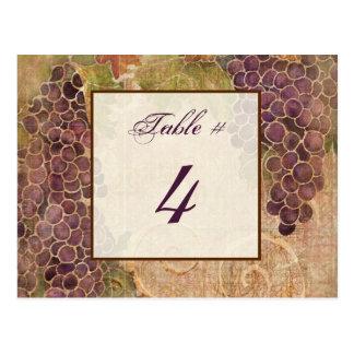 Tarjeta envejecida del número de la tabla del viñe tarjeta postal